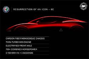 Telaio in fibra di carbonio ed oltre 700CV: in arrivo l'Alfa Romeo 8C