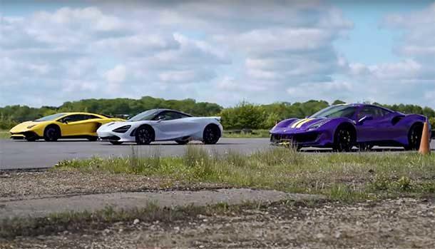 Tre supercar si sfidano: chi vincerà tra Ferrari 488 Pista, Lamborghini Aventador SV e McLaren 720S?