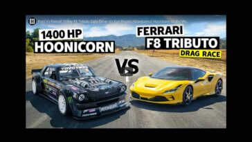 Ken Block Hoonicorn vs Ferrari F8 Tributo