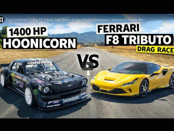 Ken Block Hoonicorn vs Ferrari F8 Tributo