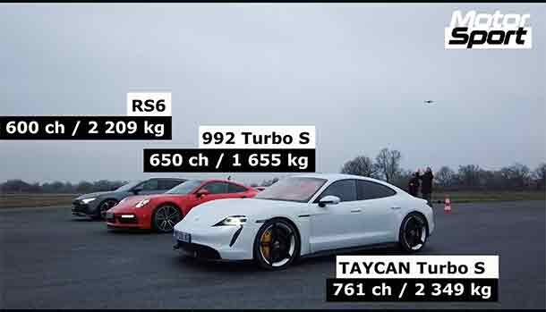 Porsche 911 Turbo S - Taycan Turbo S - Audi RS6 - Drag Race